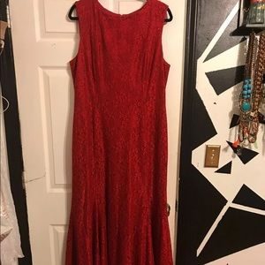 Tahari red lace maxi fit and flare dress
